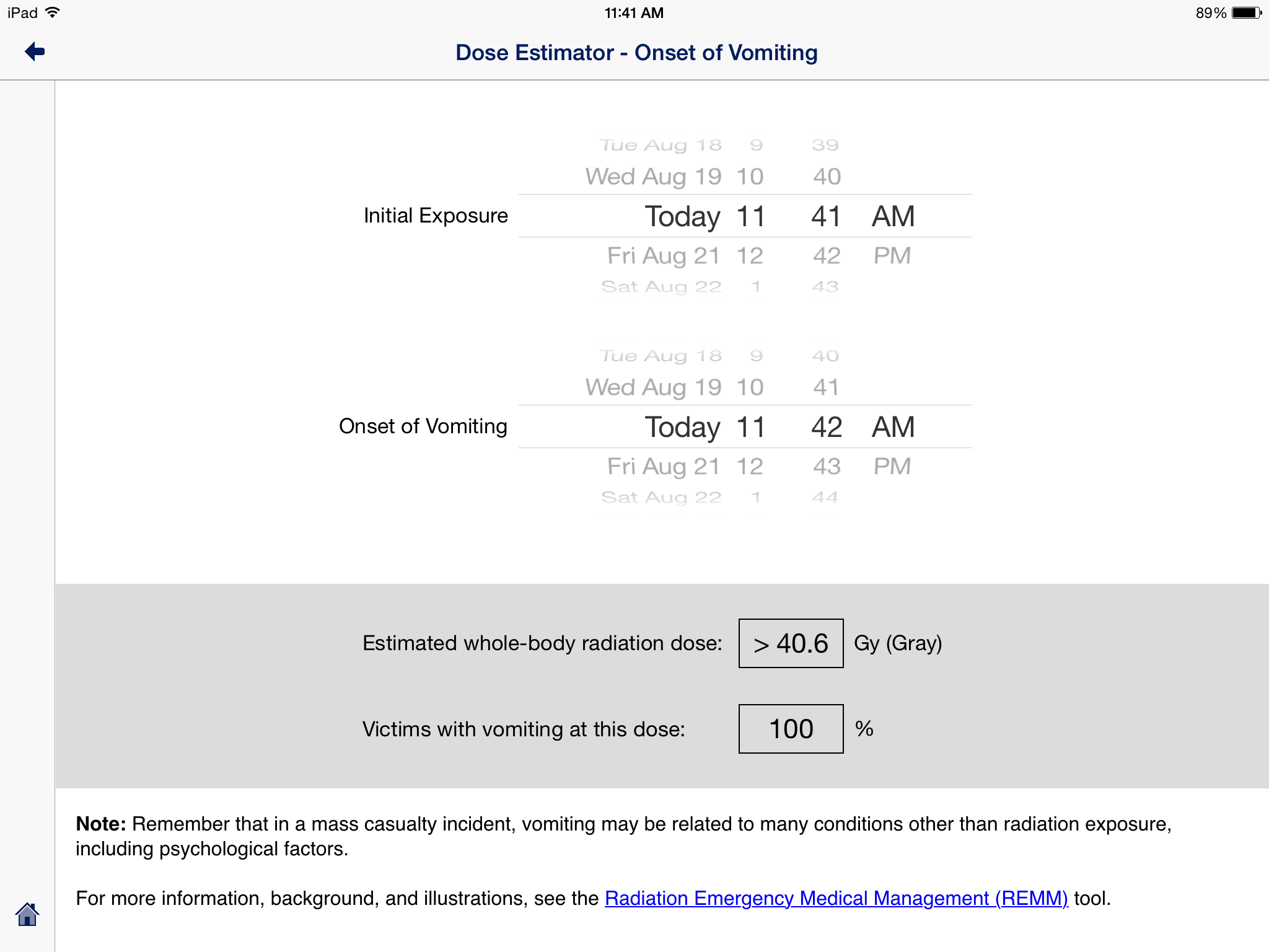 Radiation Dose Estimator iPad Example