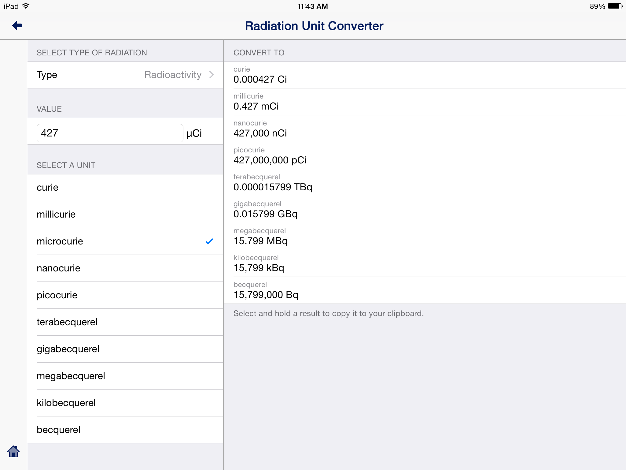 Radiation Unit Converter iPad Example